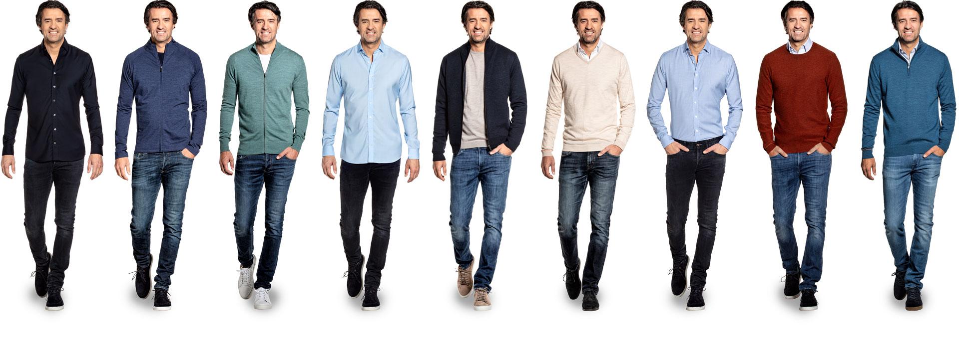 Overzicht van de wollen truien, vesten en shirts voor heren van Joe Merino