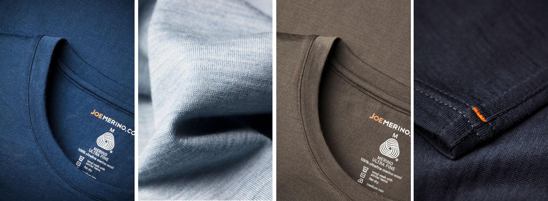 Macro foto's van merino t-shirts Joe Merino
