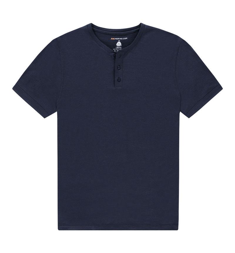 Merino Henley shirt in het grijs