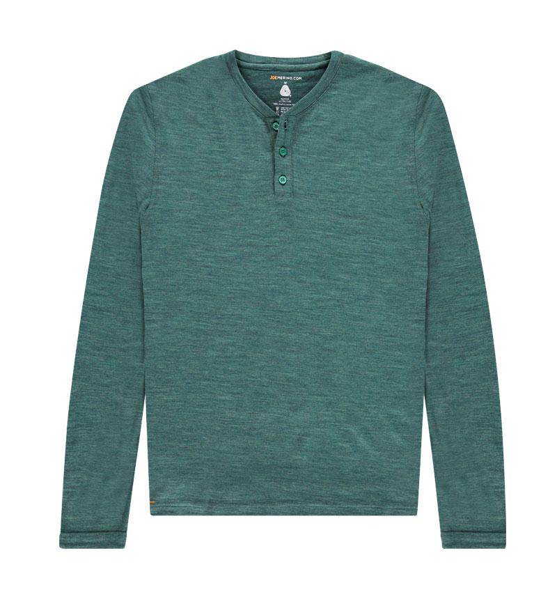 Merino Henley shirt met lange mouwen in het groen