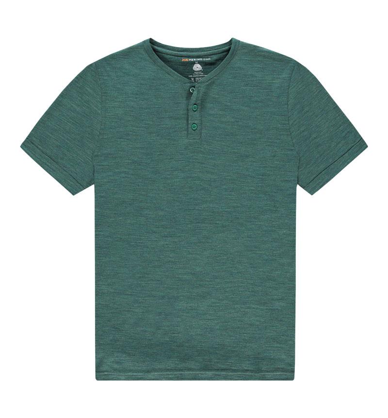 Merino Henley shirt in het groen