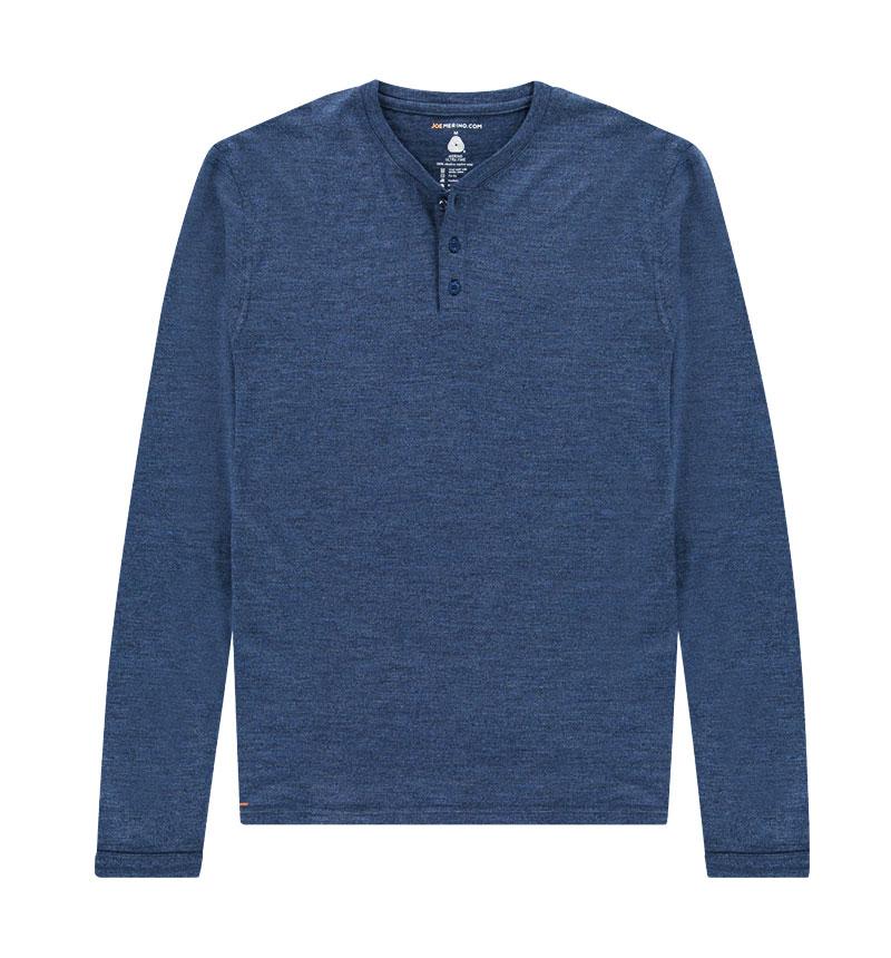 Merino Henley shirt met lange mouwen in het blauw