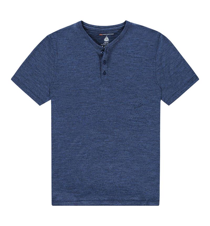 Merino Henley shirt in het blauw