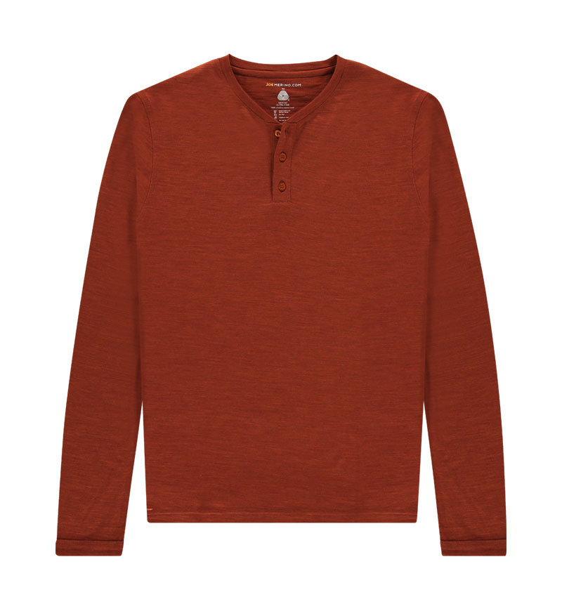 Merino Henley shirt met lange mouwen in het oranje