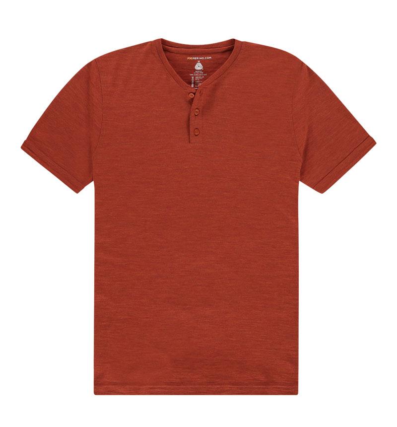 Merino Henley shirt in het oranje