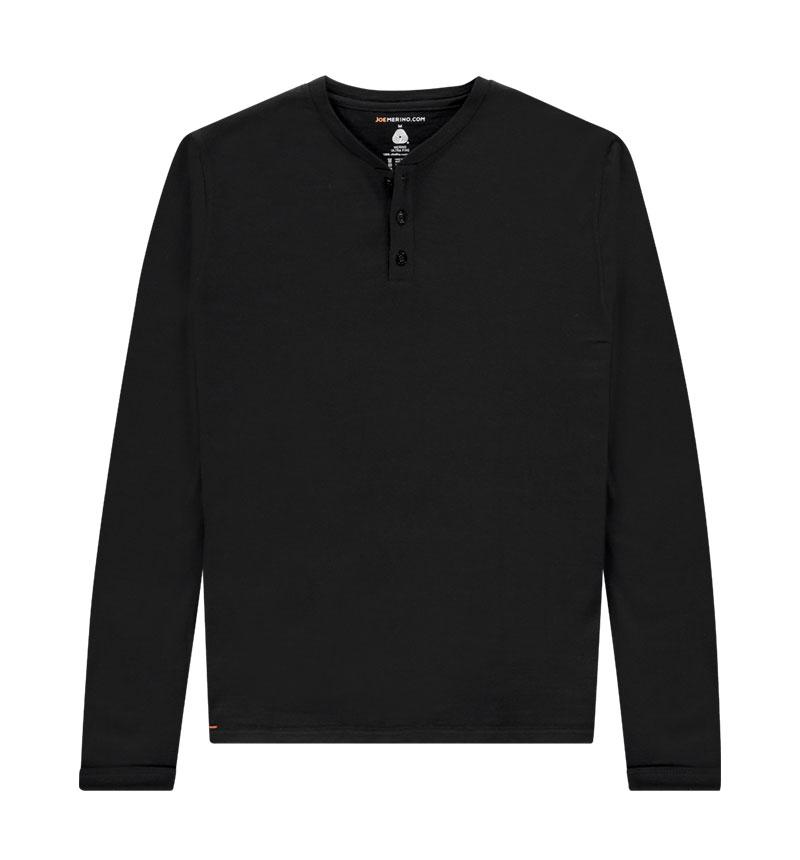 Merino Henley shirt met lange mouwen in het zwart