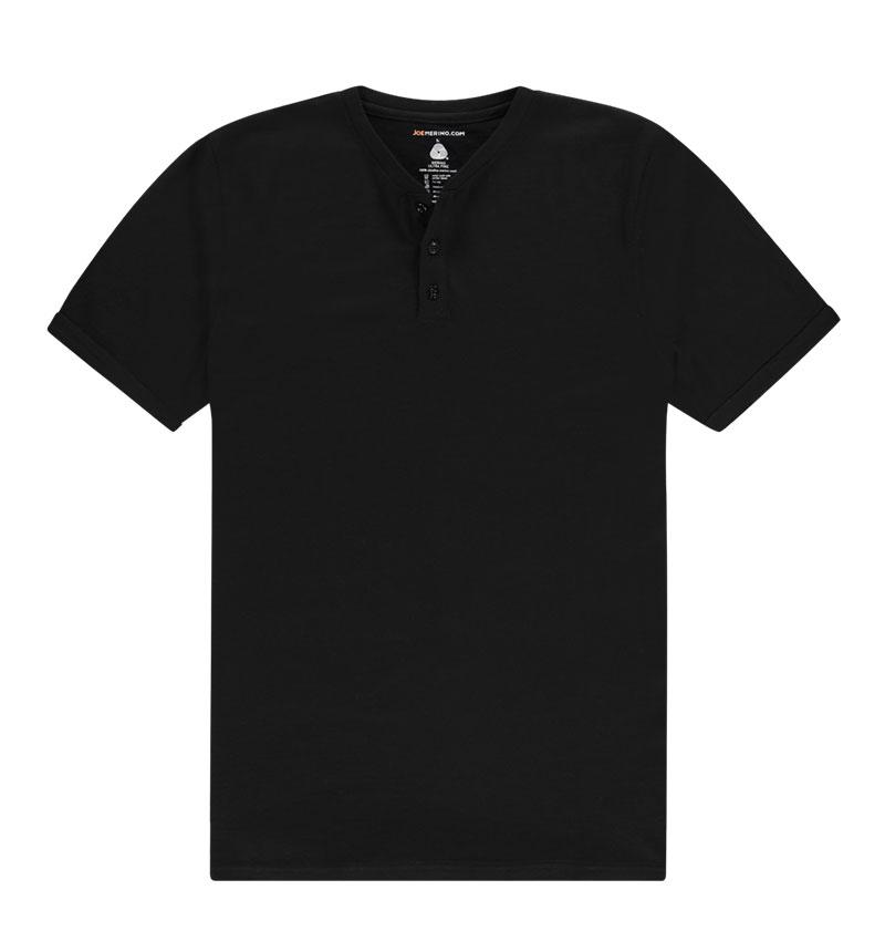 Merino Henley shirt in het zwart