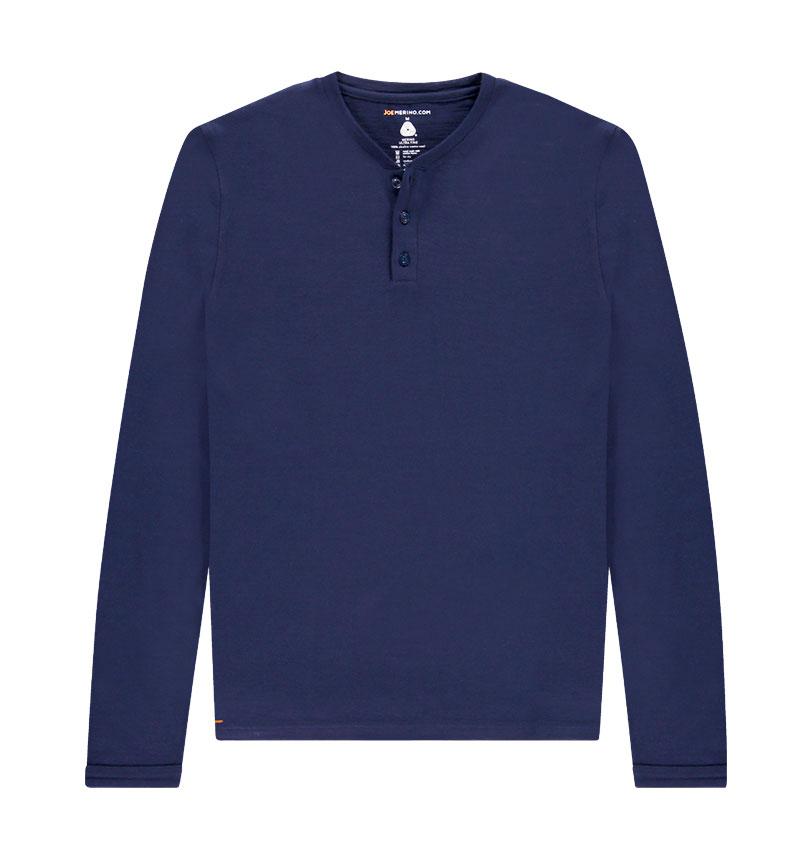 Merino Henley shirt met lange mouwen in het donkerblauw