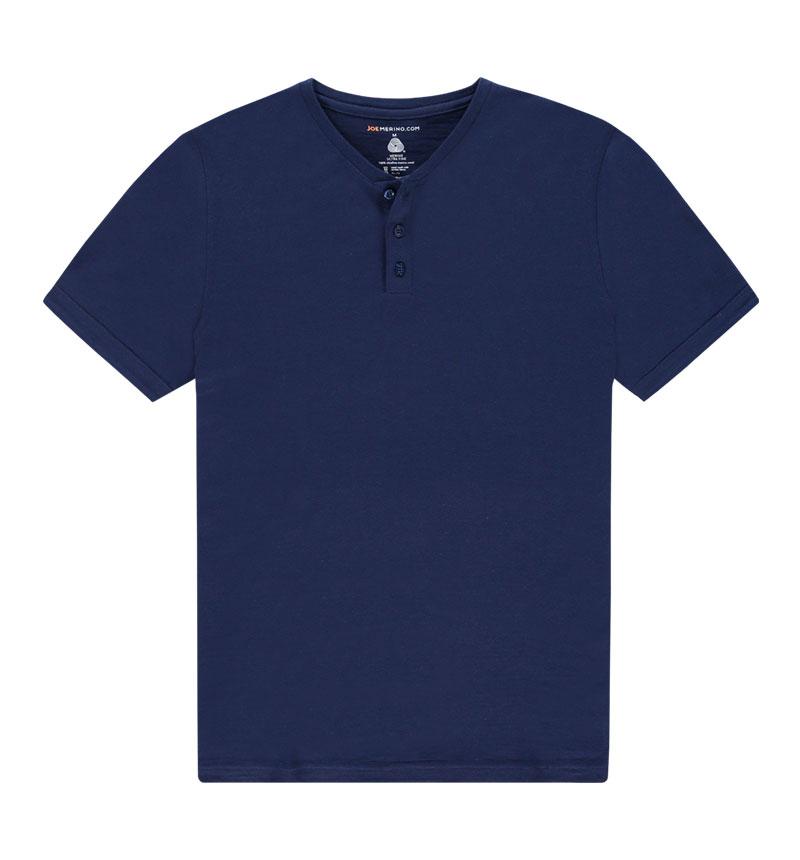 Merino Henley shirt in het donkerblauw