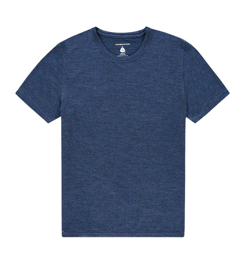 Merino ronde hals T-shirt in het blauw