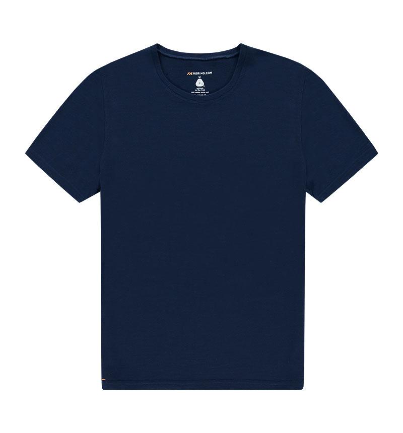 Merino ronde hals T-shirt in het donkerblauw