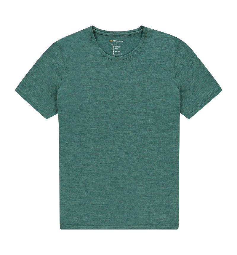 Merino ronde hals T-shirt in het groen