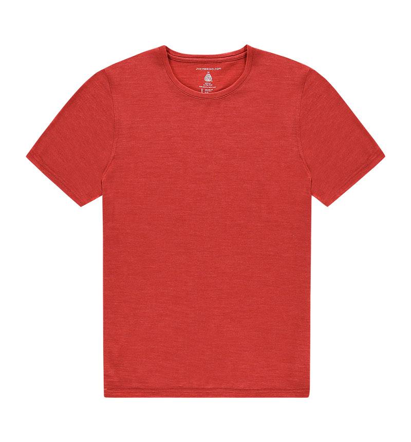 Merino ronde hals T-shirt in het oranje
