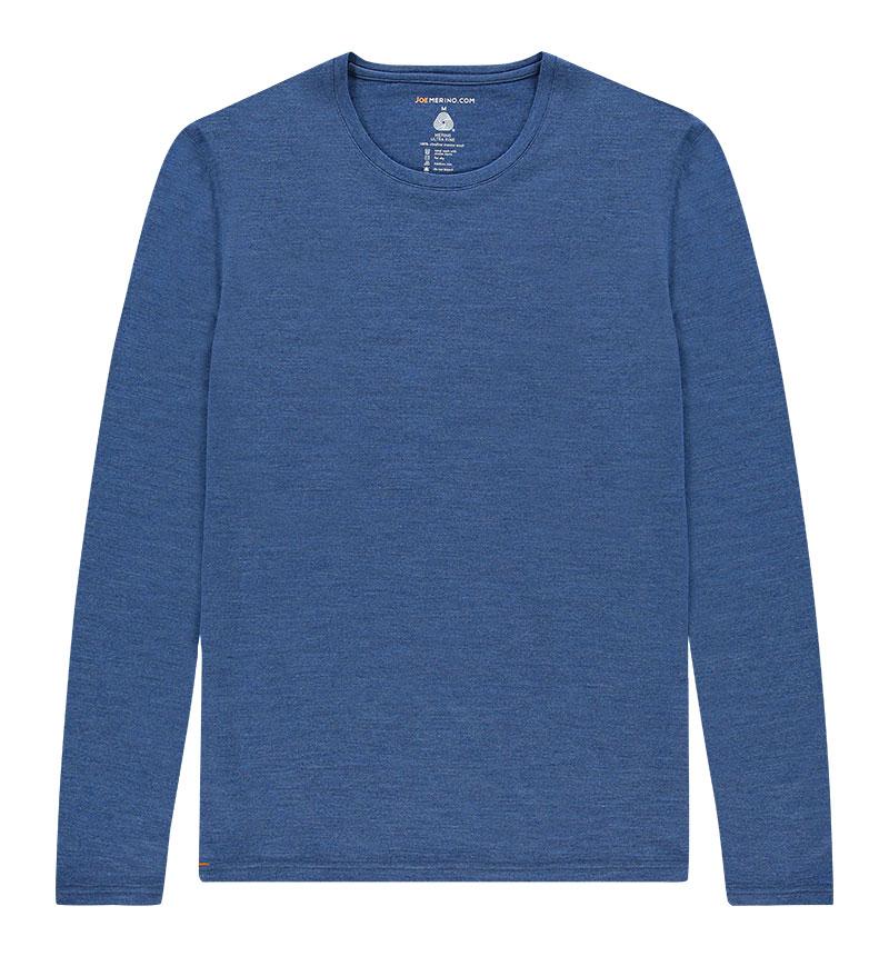 Merino T-shirt met lange mouwen in het blauw