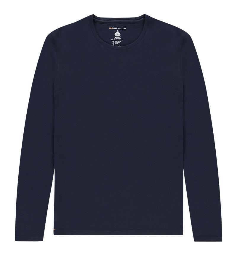 Merino T-shirt met lange mouwen in het donkerblauw