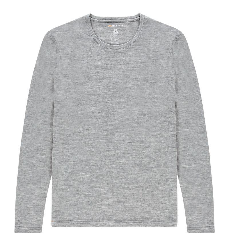 Merino T-shirt met lange mouwen in het grijs