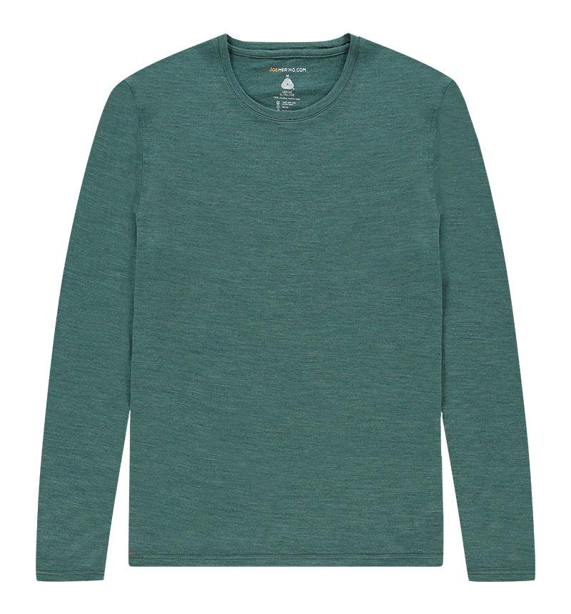 Merino T-shirt met lange mouwen in het groen