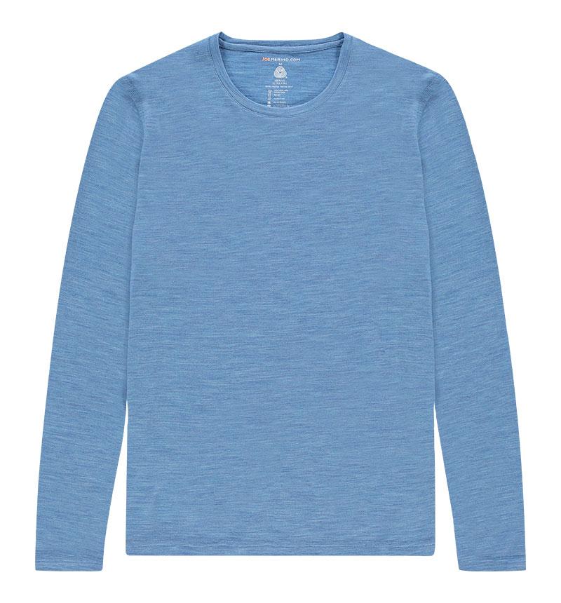 Merino T-shirt met lange mouwen in het lichtblauw