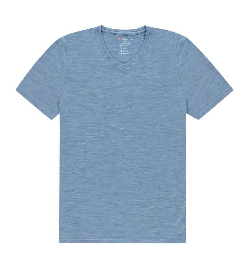 Merino V hals T-shirt in het blauw