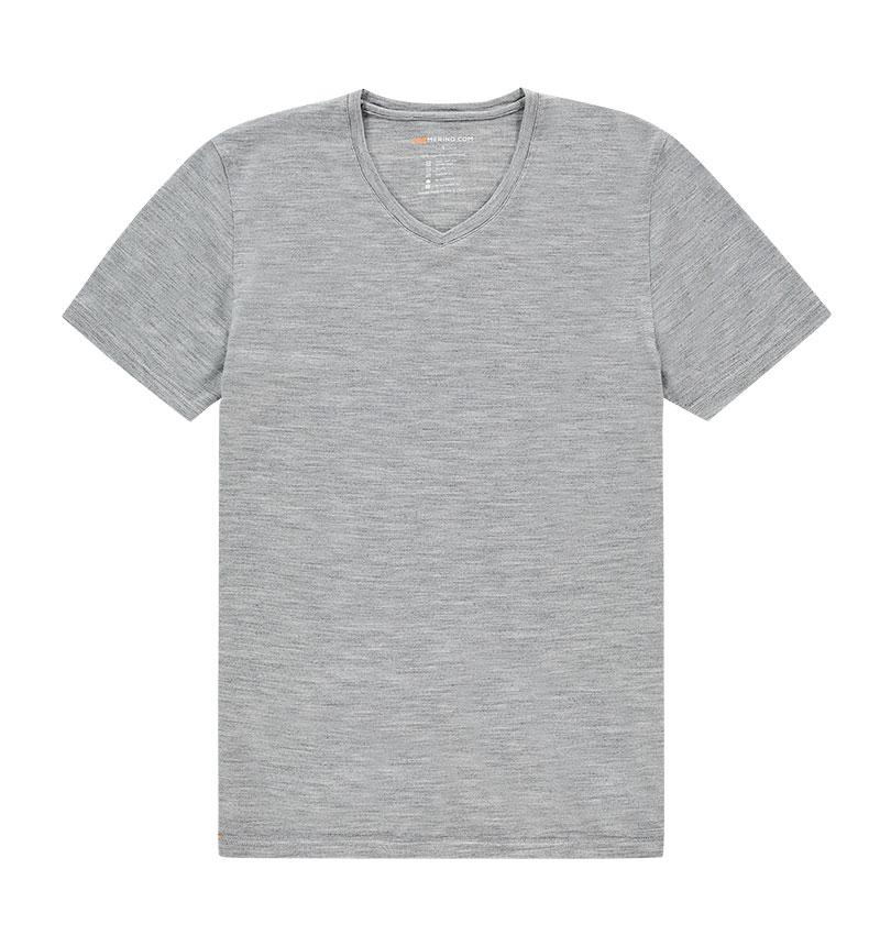 Merino V hals T-shirt in het grijs