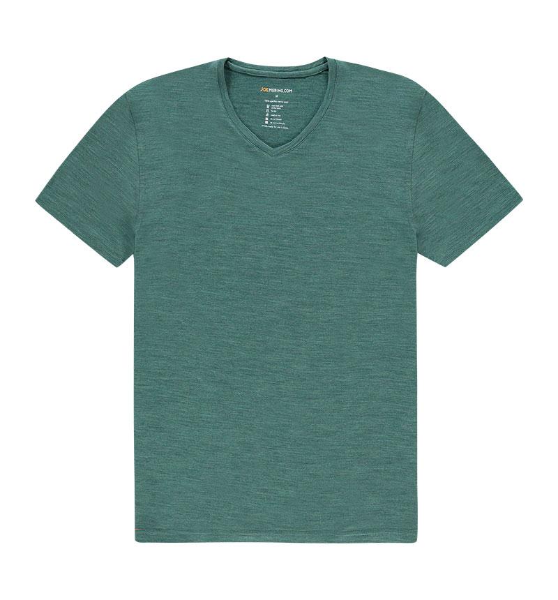 Merino V hals T-shirt in het groen