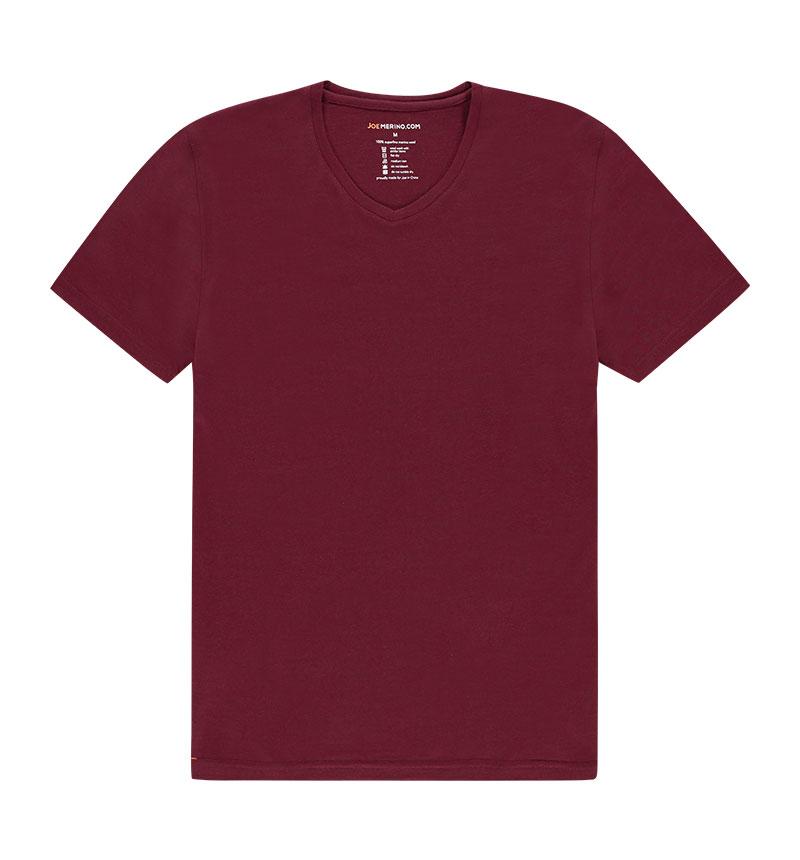 Merino V hals T-shirt in het rood