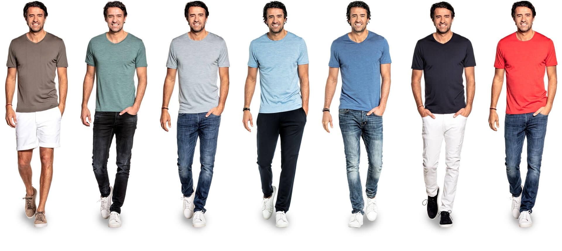 Merino T-shirts in verschillende kleuren