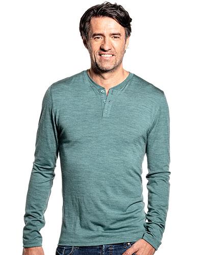 Merino Henley shirt met lange mouwen