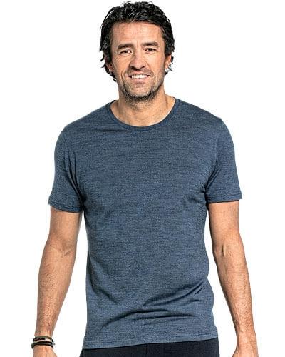Merino T-shirt met ronde hals en korte mouwen