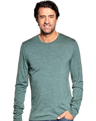 Merino T-shirt met ronde hals en lange mouwen